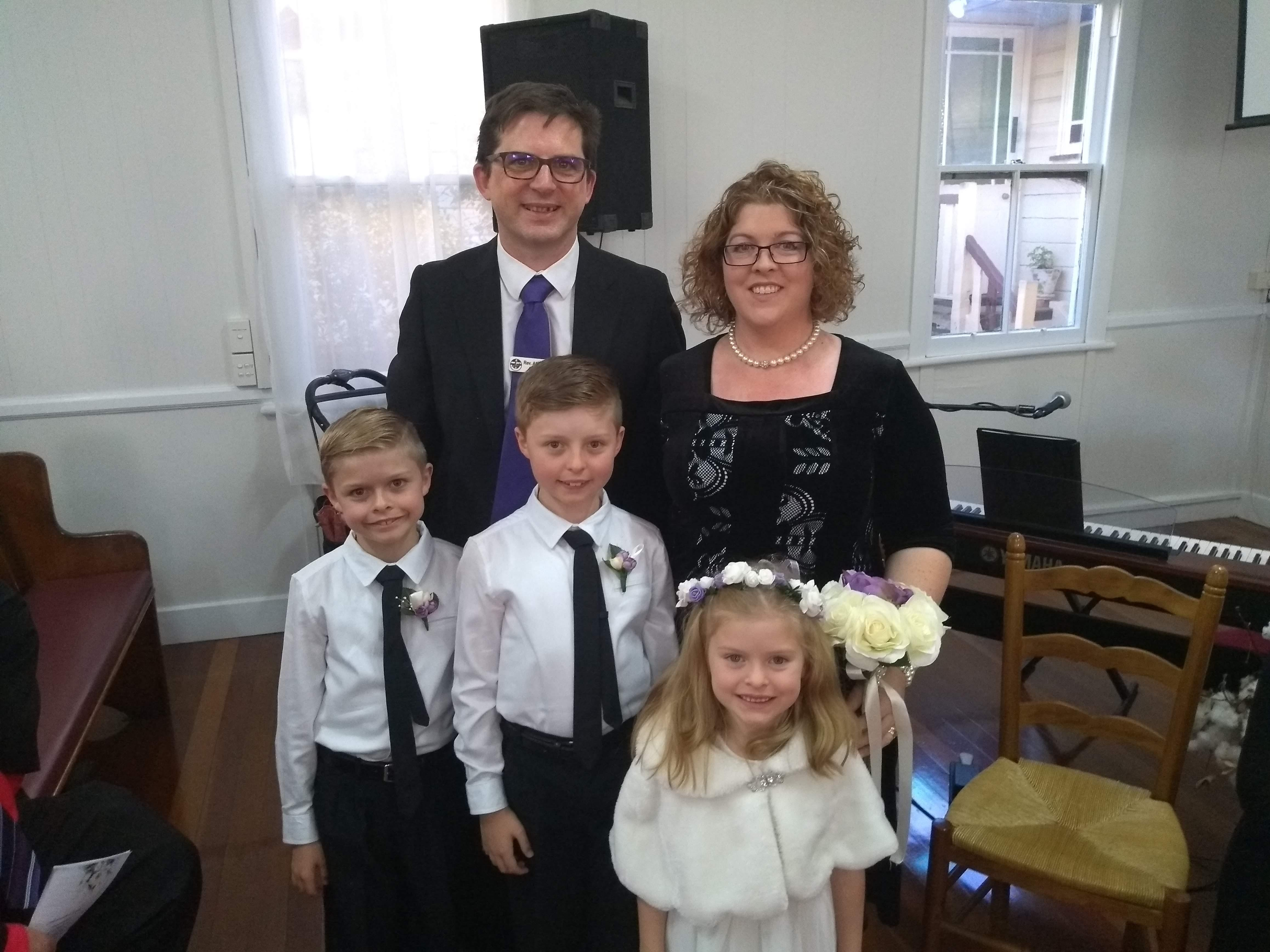 Gillies family at a wedding