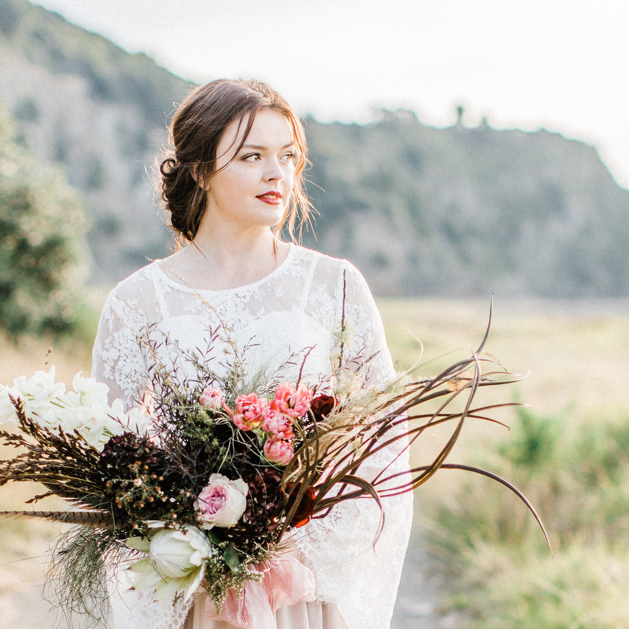 brides hair and makeup-florals-outdoor wedding