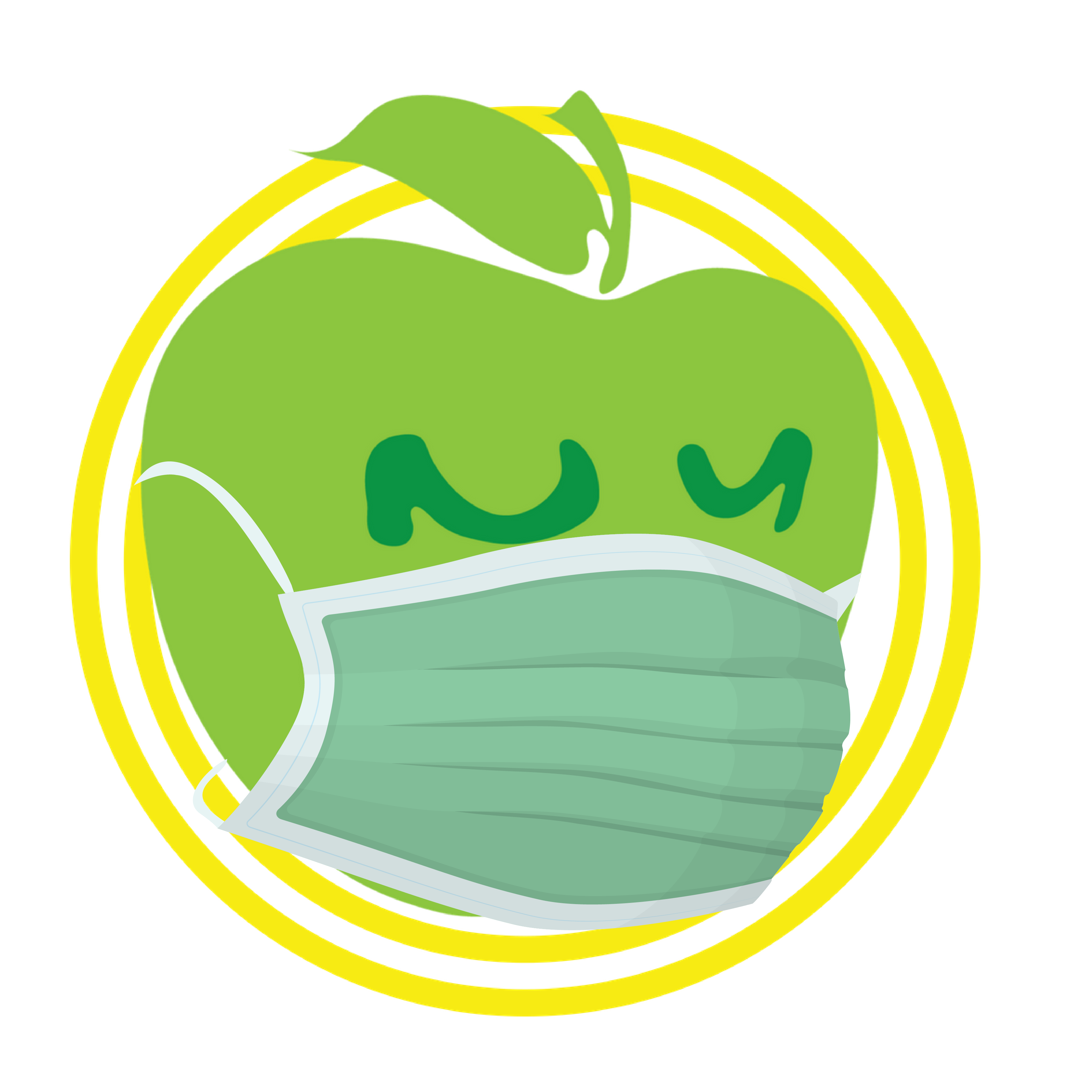 Apple Logo with Green Mask