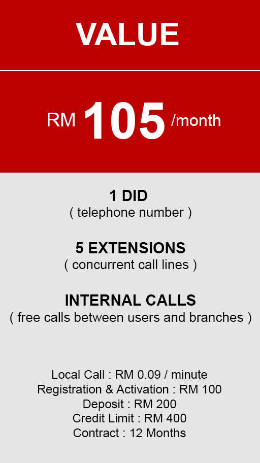 hosted PBX Malaysia - Value Plan