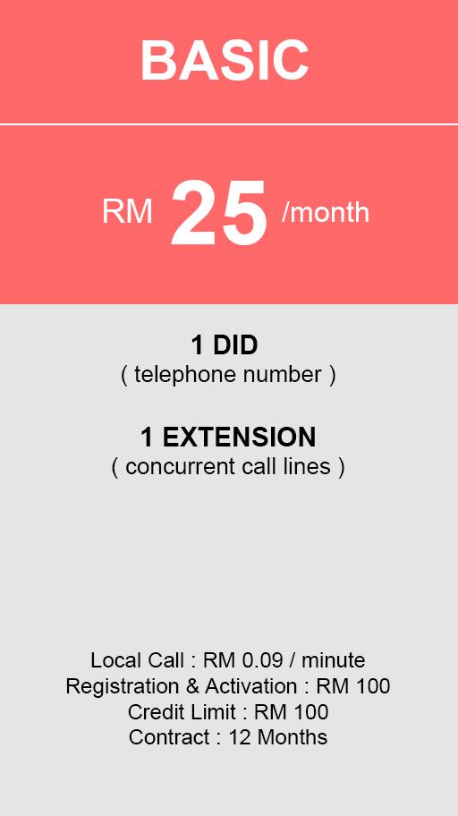 hosted PBX Malaysia - Basic Plan