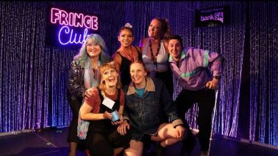 Adelaide Fringe Weekly Award Winners - 5 squad members pose with Heather Croal, holding their new BEST CIRCUS award.