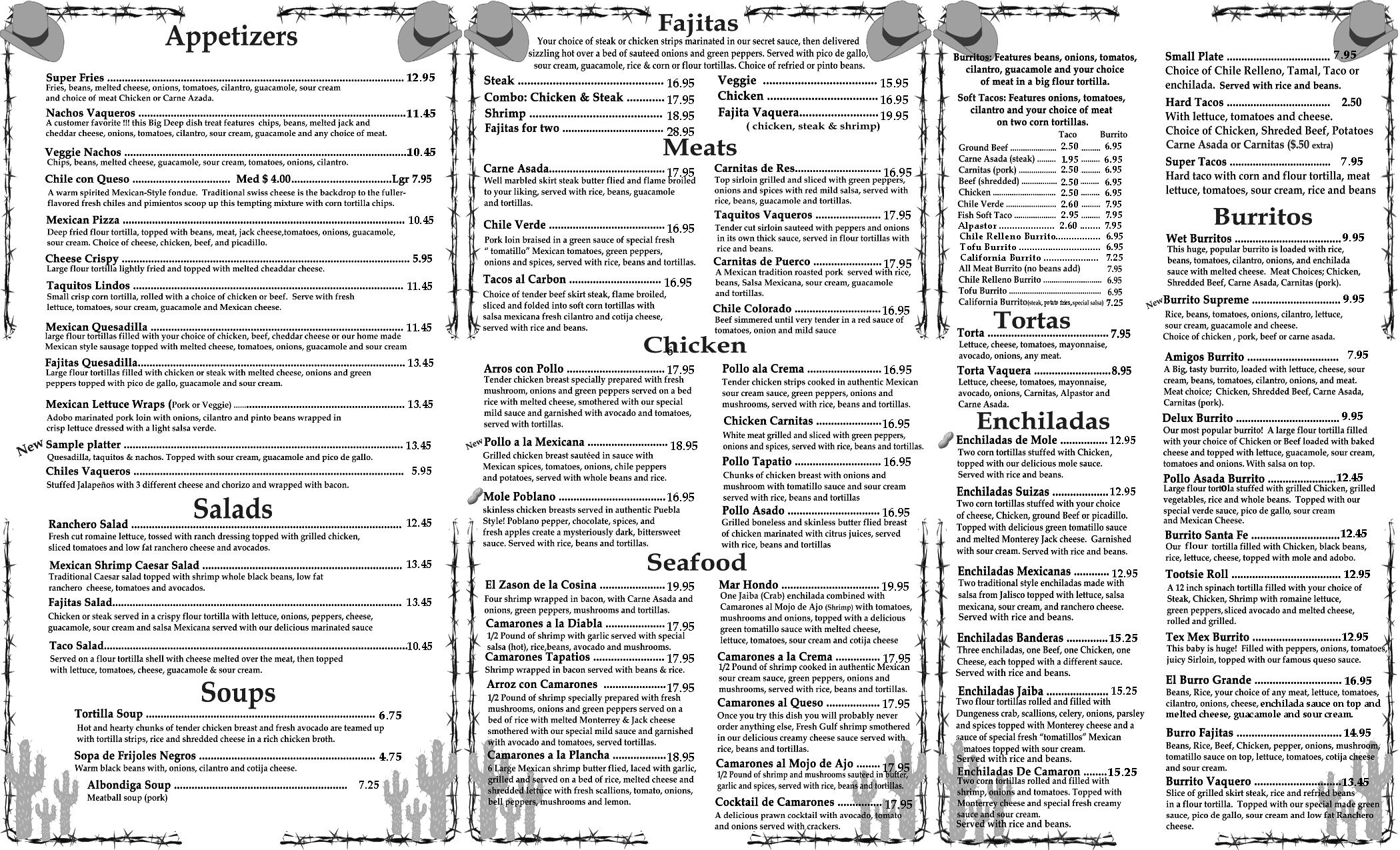 BurritoVaquero To Go Menu: Appetizers, Fajitas, Meats and burritos
