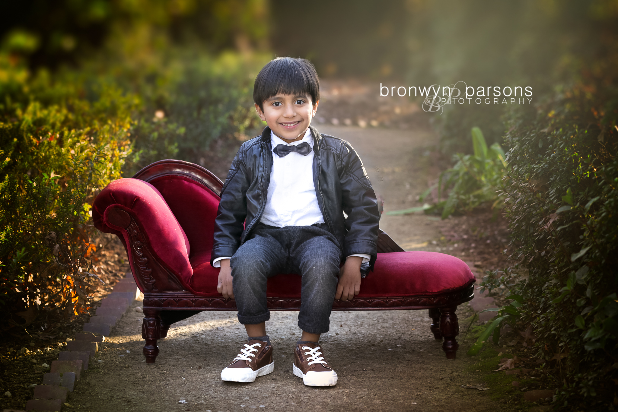 Family Photography Children's Portraits Boy on red couch