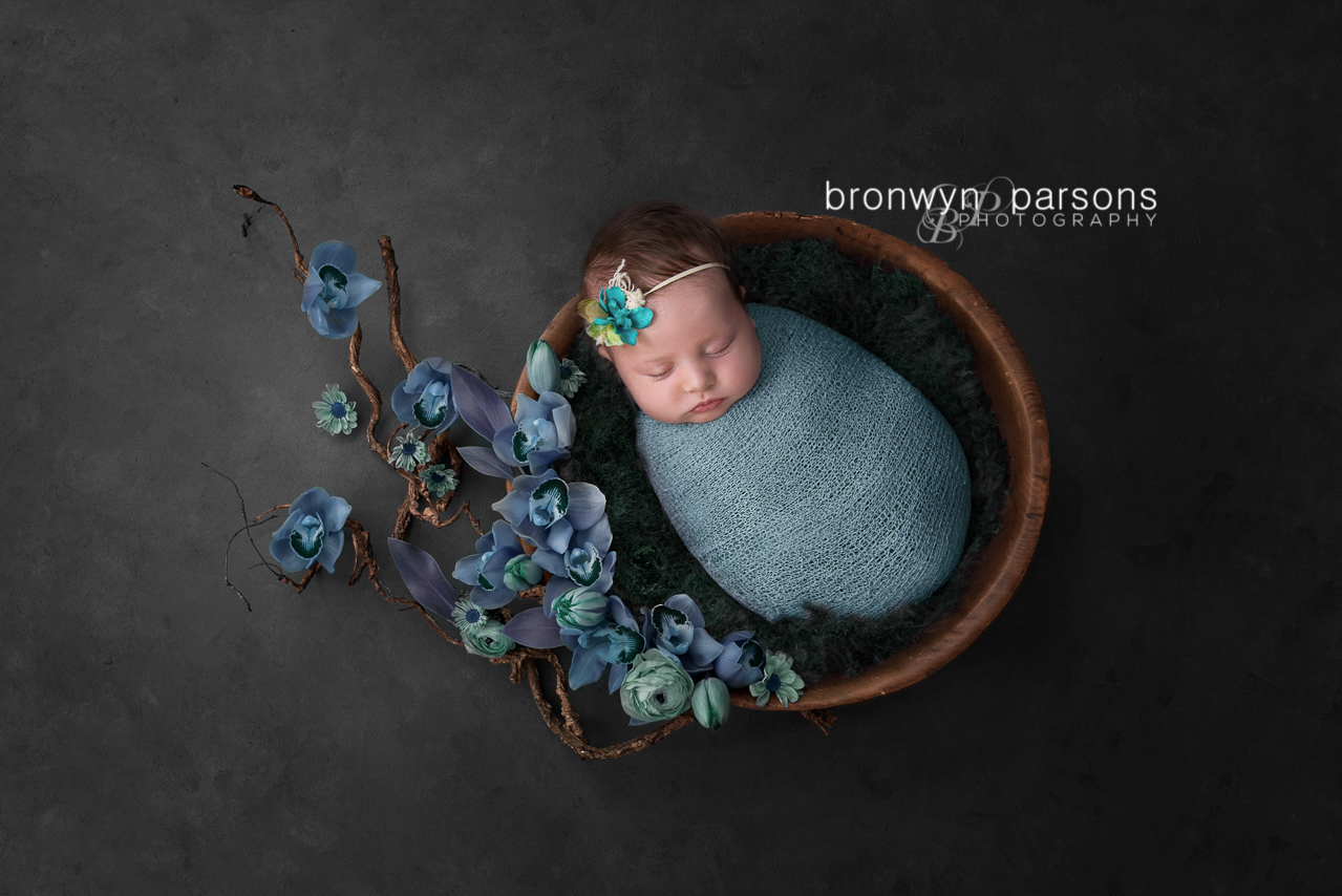 Newborn Photography Floral Nest