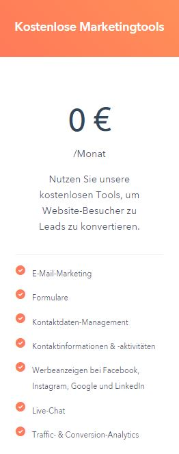 Hupspot Free Marketing Tools