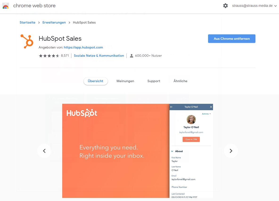 Hubspot Chrome Webstore