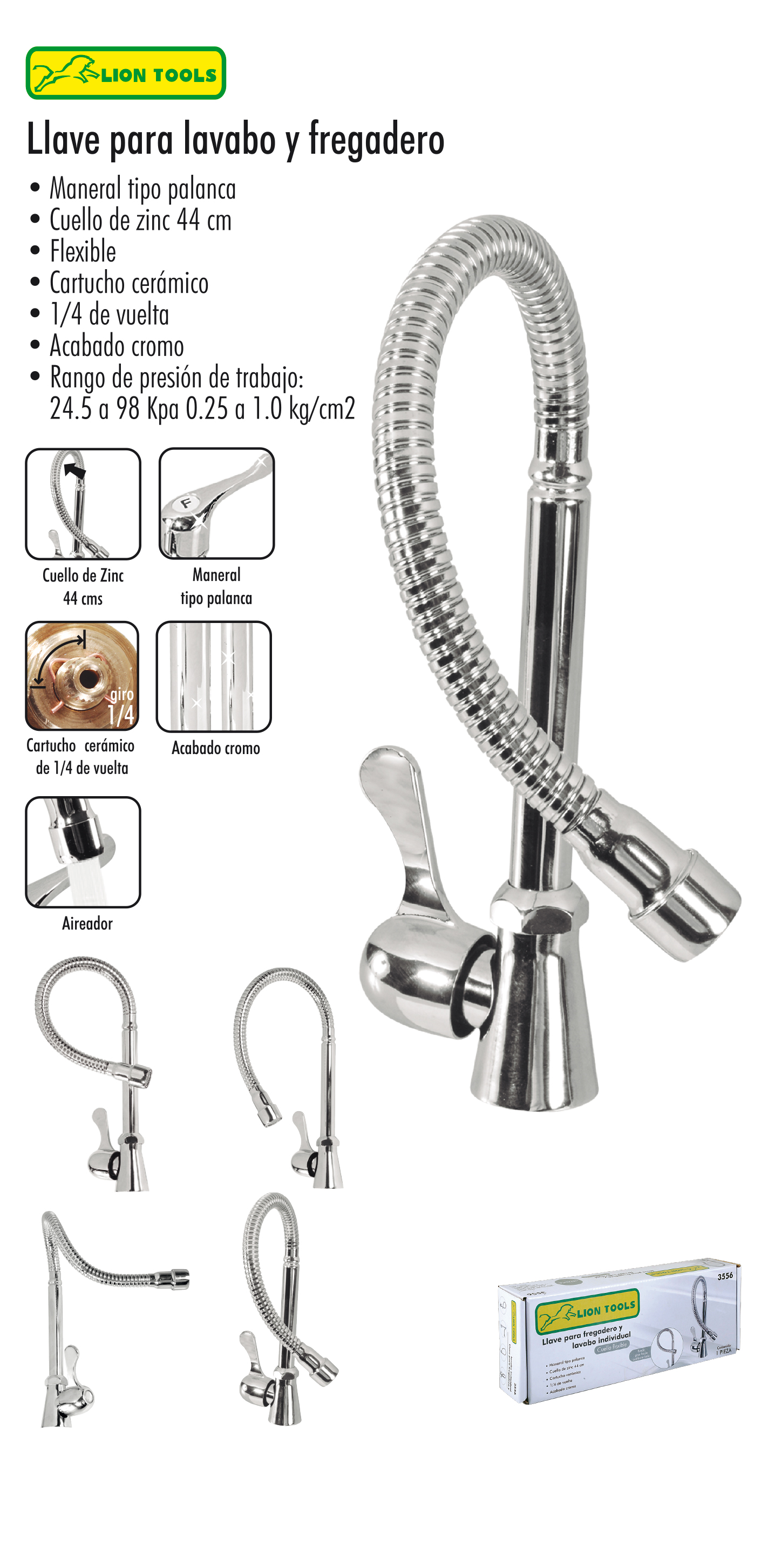 Mezcladora Lavabo y Fregadero cuello Flexible LION TOOLS
