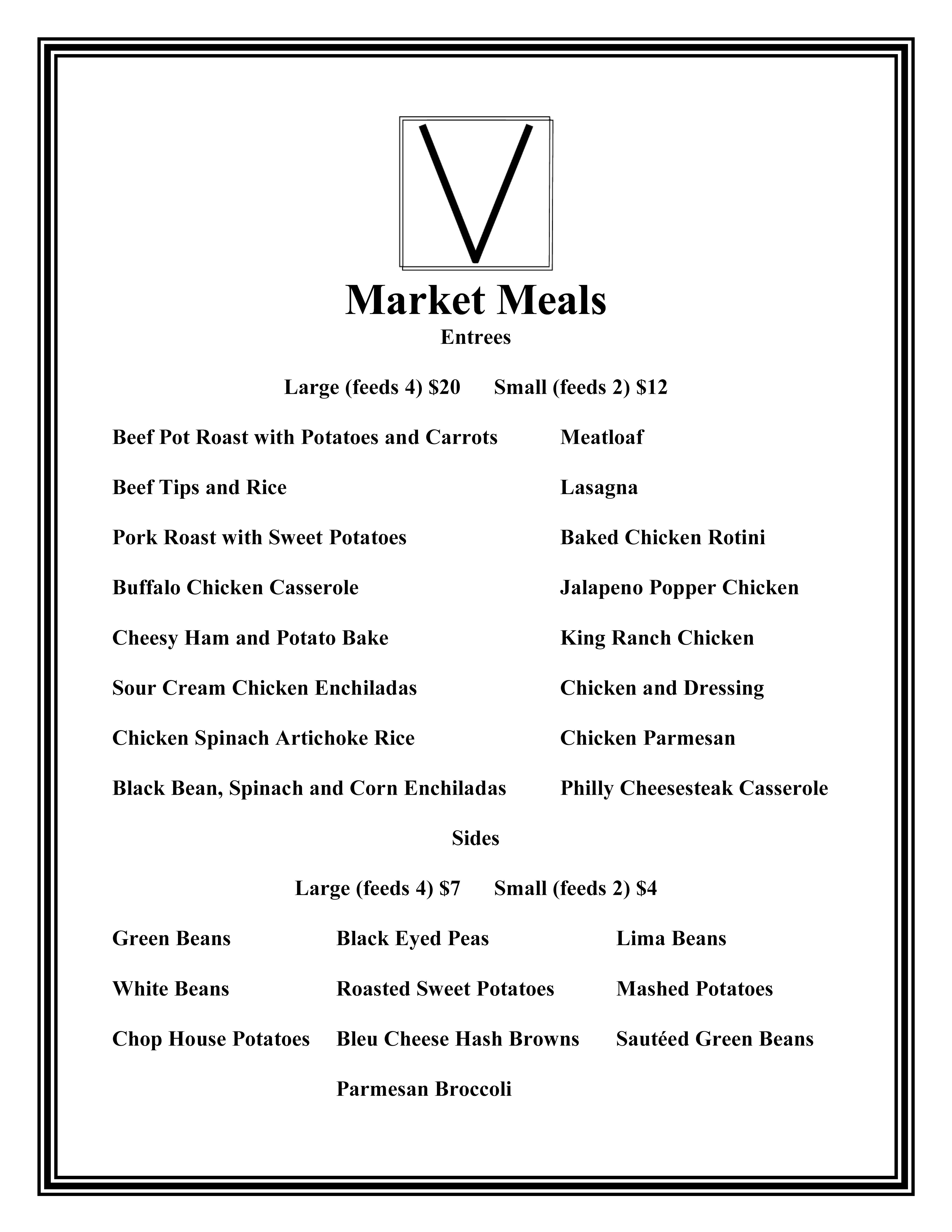 Market Meals Menu, Vicari Italian Grill